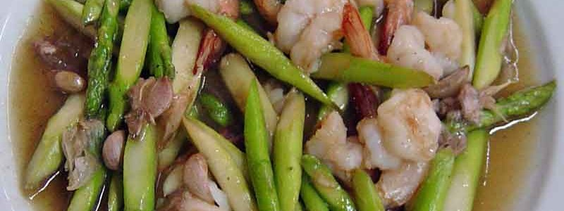 クン・パッ・ノマーイファランกุ้งผัดหน่อไม้ฝรั่ง[海老とアスパラガスの炒め物]