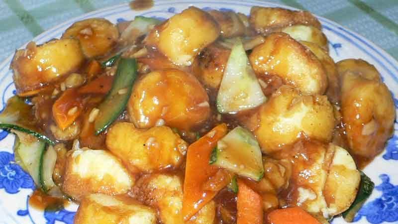 紅焼日本豆腐 hong shao riben doufu [卵豆腐の醤油煮]