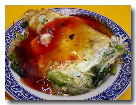 牡蠣の台湾風オムレツ