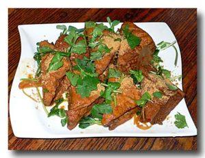 黄薑豆腐  [生姜と厚揚げの煮物] 皿全体