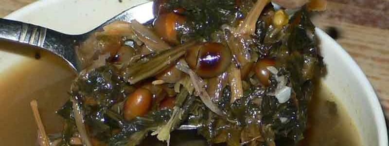 グンドゥルック・バトマス・スルワ乾燥漬物と大豆のスープ