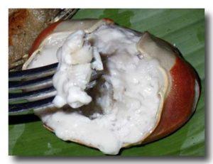 ウカエブukaeb マングローブ蟹のココナッツ煮 フォークですくう